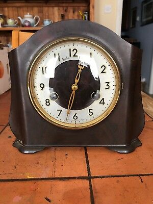 Smiths Enfield , Mantle Clock in Bakelite Case, striking chime,Great Condition