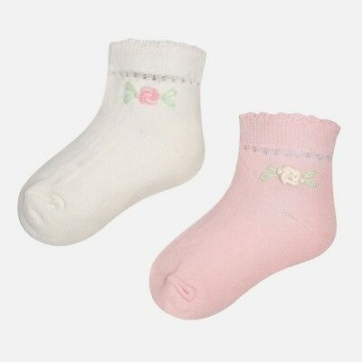 Mayoral 6 Month Girl Socks Pack of 2 with roses RRP £8 10133-087