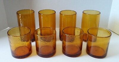 Set (8) Amber Bubble Glassware Hand Blown (4)Tumblers & (4)Double Old Fashioneds