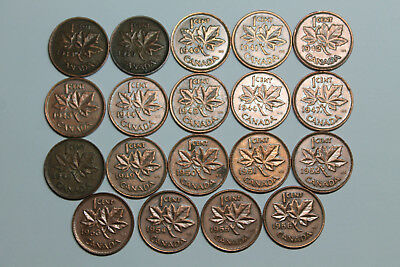 Lot of 19 circulated Canadian cents 1938-1956