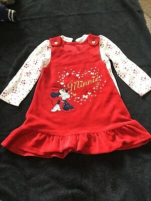 GEORGE ASDA MINNIE MOUSE RED DRESS CHRISTMAS WORN ONCE, 12-18 months
