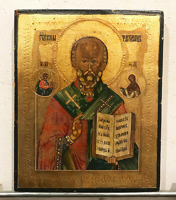 "19 c. ANTIQUE RUSSIAN HAND PAINTED ICON  ""St.NICHOLAS"""