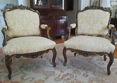 SENSATIONAL French Louis XV Style (19th Cent) Gilt Armchairs