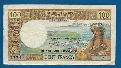 Tahiti Papeete 100 Francs ND-1973 P-24b Guitar Girl South Pacific Banknote
