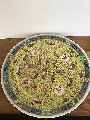 Vintage Chinese Mung Shou Charger/tray In Yellow Stamped, decorated In Hong Kong