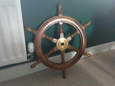 Ships wheel, wood and brass, vintage