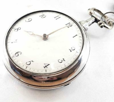 A Working Silver English Verge Fusee Pair Cased Wm Massey Nantwich Serviced