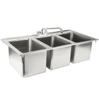 "Stainless Steel 3 Compartment Drop-In Sink 37"" x 19"" NSF Certified"