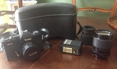 VINTAGE VIVITAR 250/SL, 2 Lenses, 1 FLASH, HARD CASE W/SHOULDER/WAIST STRAP
