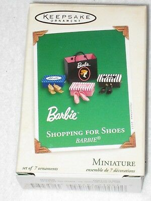 Shopping For Shoes Barbie Hallmark Miniature Ornament Set Of 7 2003 New In Box