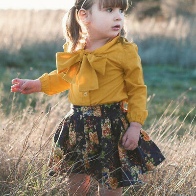 2pcs Toddler Baby Girls Long Sleeve Bow T-Shirt Tops+Print Skirt Clothes Outfit