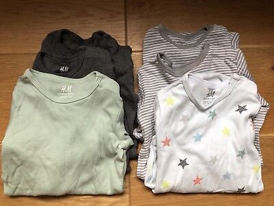 6 New H&M Long Sleeved Vest Bodysuits 18-24 Months 1.5-2yr 92