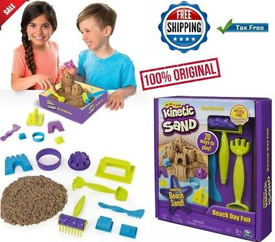 Fast Shipping! Kinetic Sand Beach Day Fun Playset With Molds And Tools 12 oz New