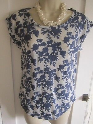 Ladies size 8 New Look white and navy blue floral summer top semi sheer