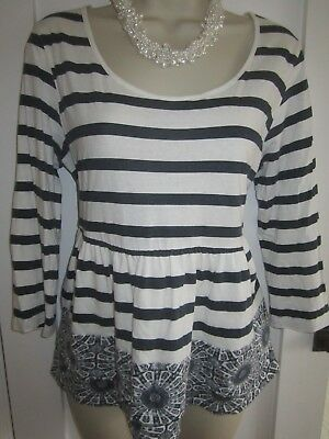 Ladies size 14 George white and navy blue striped ¾ sleeve summer top