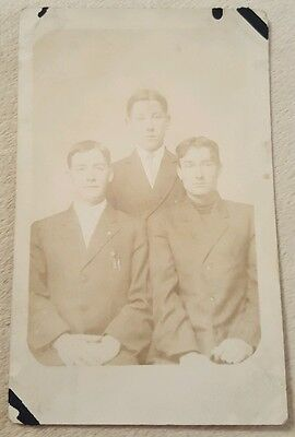 Vintage Antique Real Photo Postcard 3 Handsome Young Men in suits