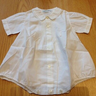 Vtg Baby Romper Feltman Brothers All Cotton Hand Embroider Collar button bottom