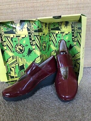 "New in box Fly shoes London high heel platform pa""Yan"" burgundy  UK 39 US 8- 8.5"
