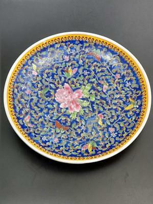 Chinese Famille Rosse Cobalt Blue Charger Qianlong mark Late 19th century