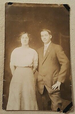 Vintage Real Photo Postcard Black white Handsome Young man and woman