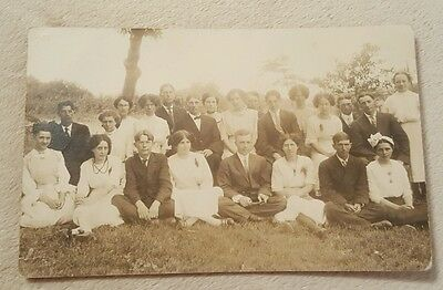 Vintage Antique Real Photo Postcard group of young men women college students?