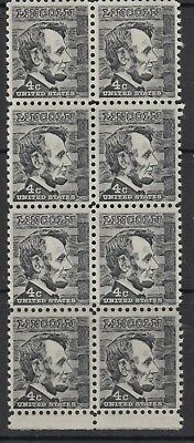 UNITED STATES 4c Lincoln Block of 8 MNH
