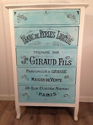 Unique Hand Painted Dresser Chest French Perfume Turquoise Aqua- *Pickup Only