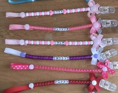 💕BUY 2 GET 1 FREE Personalised-Dummy-Clip-Any-Name-Any-Colour-For-With Bows 💕