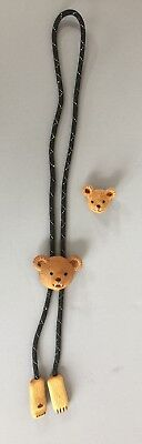 Teddy Bear Wood Carved Bolo and Lapel Pin Bob Beckett Signed