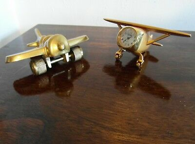 Vintage Small Brass Aeroplane's Desk Ornament/Paperweight + Free Miniature Clock