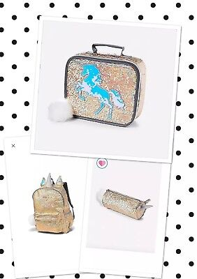 Justice Gold Unicorn Sequin Backpack, Lunch Tote Pencil Pouch 3 Pc Set!