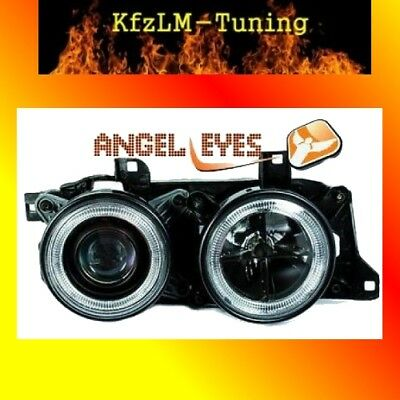 Scheinwerfer SET BMW 7er E32 5er E34 Angel Eyes schwarz BLACK 86-94