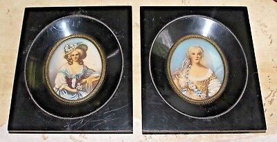 A Fine PR of Antique French Hand Painted & Framed Portrait Miniature Paintings