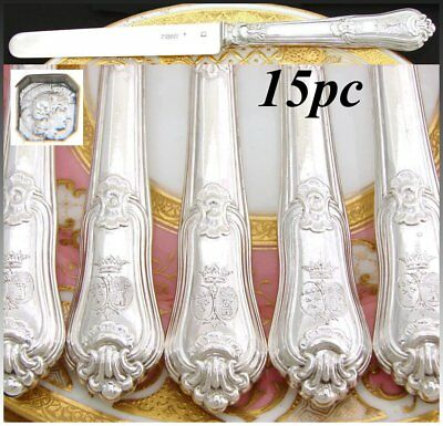 "Antique French Sterling Silver 15pc 8"" Dessert, Entremet Knife Set, Armorial"