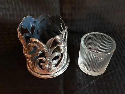 Pewter Votive Candle Holder and Glass LIner.