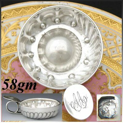 """Antique French Sterling Silver """"Tastevin"""" or Wine Tasting Cup, """"A.A."""" Monogram"""