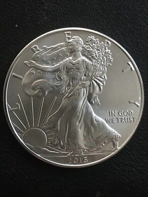 2016 Silver American Eagle with 1 oz Silver , Beautiful Coin, BU, MS (1391)