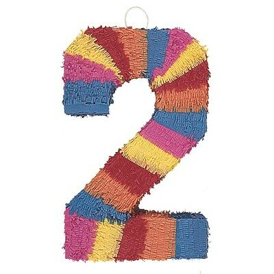 Number Two Age Milestone Multi Colour Pinata Party Game Decoration