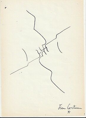 Jean Cocteau  Drawing On Old Paper Ink