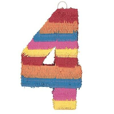 Number Four Age Milestone Multi Colour Pinata Party Game Decoration