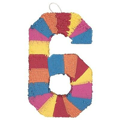 Number Six Age Milestone Multi Colour Pinata Party Game Decoration