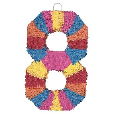 Number Eight Age Milestone Multi Colour Pinata Party Game Decoration