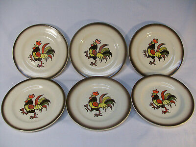 """Set Of 6 Metlox Poppytrail California Red Rooster 6 3/8"""" Bread Plates Excellent"""