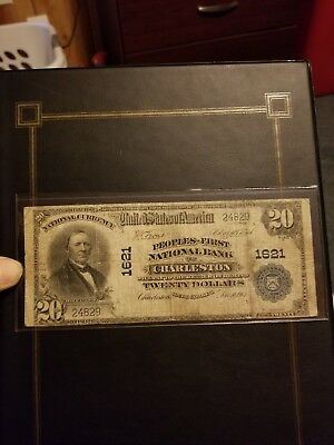 1902 Large Size $20 First National Bank of Charleston South Carolina Currency