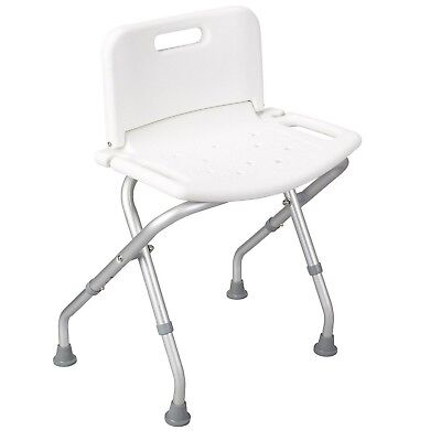 Lightweight folding shower seat chair with backrest - adjustable height