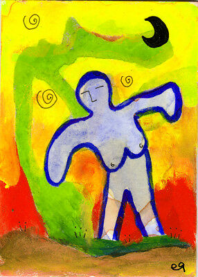 conjured by foxlight and moon e9Art ACEO Outsider Folk Art Brut Abstract Paintin