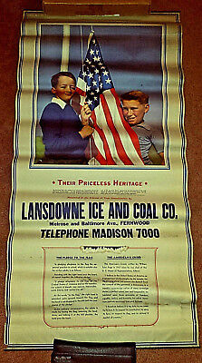 Vintage Lg. American Poster Ice & Coal Co. Pledge to the Flag American Creed