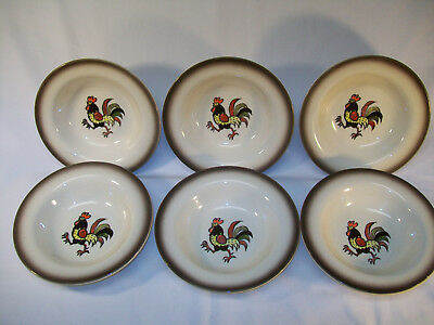 """Set Of 6 Metlox Poppytrail California Red Rooster 6"""" Fruit Dessert Bowls Excelle"""