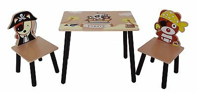 Kiddi Style Children's Pirate Themed Wooden Table and Chair Set Brown