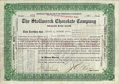 The Stollwerck Chocolate Company, Massachusetts, 1924 (15 Shares first pref.)